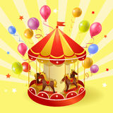 Festive carousel with balls. Illustration Stock Photo