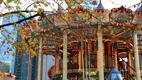 Festive carrousel with sparkling lights stock video footage