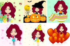 Festive cartoon girl in different international holiday. And celebration in various background pattern set, create by vector Royalty Free Stock Images