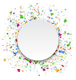 Festive Celebration Bright Confetti with Circle Frame Isolated o. N White Background Royalty Free Stock Photos