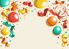 Festive Celebration Concept with Colorful Balloons Ribbons and C. Onfetti Isolated on Beige Background Royalty Free Stock Photos