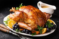 Festive celebration roasted turkey for Thanksgiving royalty free stock photo