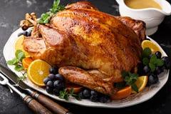 Festive celebration roasted turkey for Thanksgiving royalty free stock photography