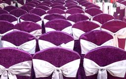 Festive Chairs with Purple Cloth Covering Royalty Free Stock Image