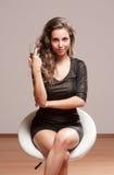 Festive champagne brunette. Stock Images