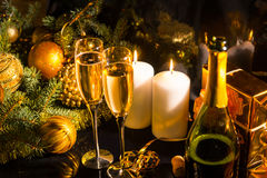 Festive champagne Christmas background Royalty Free Stock Photography