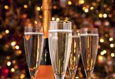 Festive Champagne Holiday. Festive Christmas Champagne Holiday Still life Stock Photo