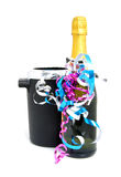 Festive champagne next to cooler Royalty Free Stock Images