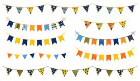 Festive and cheerful vector buntings with colorful flags with do. Ts and stripes for kid birthdays, parties and other celebrations Royalty Free Stock Photography