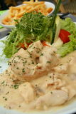 Festive chicken stew. Festive and creamy chicken stew with salad and fries Stock Image