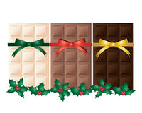 Festive chocolate. An illustration of white milk and dark chocolate bars with christmas ribbon and holly garland isolated on a white background Stock Photography