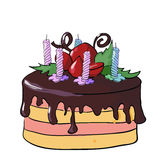 Festive chocolate cake with candles. Vector illustration Royalty Free Stock Image