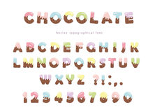 Festive chocolate font. Funny letters and numbers can be used for birthday card, Valentines day, baby shower, sweets shop, girls m. Agazine. Isolated. Vector Stock Image