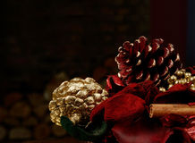 Festive Christmas. Macro festive image with copy space. Stacked fire logs in the background Stock Images
