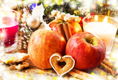 Festive Christmas Apples and Spices Royalty Free Stock Image