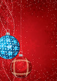 Festive Christmas background. Red festive background with round Christmas ornaments Stock Photos