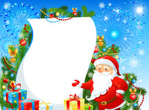Festive Christmas background. With Santa Claus and fir tree. Space for text Royalty Free Stock Image