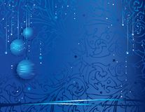 Festive christmas background. Vector illustration of a festive christmas background with decorative globes and ribbons on blue Stock Photo