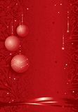 Festive christmas background. Vector illustration of a festive christmas background with decorative globes and ribbons on red Stock Image