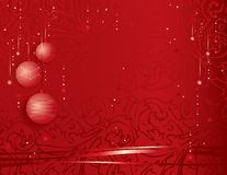 Festive christmas background. Vector illustration of a festive christmas background with decorative globes and ribbons on red royalty free illustration
