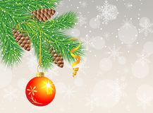 Festive christmas background with ball. Vector  illustration Stock Photos