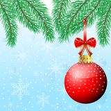 Festive christmas background with ball. Vector  illustration Stock Photography