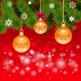 Festive Christmas background with balls. Festive background with balls, Christmas trees for cards, invitations on red background Stock Photography