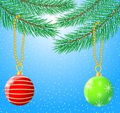 Festive christmas background with balls Royalty Free Stock Images