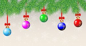 Festive christmas background with balls. Vector  illustration Stock Photo