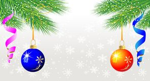Festive christmas background with balls. Vector  illustration Royalty Free Stock Photo