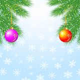 Festive christmas background with balls. Vector  illustration Royalty Free Stock Photography