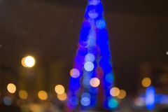 Blurred colored circles on a light holiday background royalty free stock images