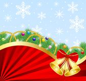 Festive christmas background with the branches of silver fir and Royalty Free Stock Photography