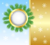 Festive christmas background with the branches of  Royalty Free Stock Photo