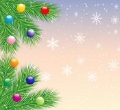 Festive christmas background with the branches of silver fir. Illustration Stock Photography