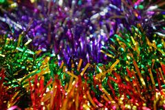 Festive Christmas background. bright colorful tinsel stock image
