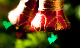Festive Christmas background with Christmas tree decorations. Creative lens without processing in computer graphics programs Royalty Free Stock Photo