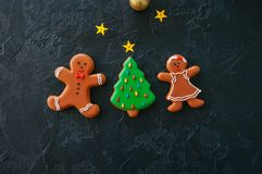 Festive Christmas background, Cookies with images of Gingerbread stock photography