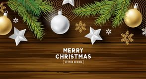Christmas Decorations On A Wood Background vector illustration