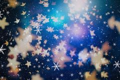 Festive Christmas background. Elegant abstract background with lights and stars. Christmas Background.Holiday Abstract Glitter .Magic Background Stock Photo