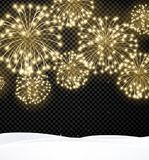 Festive Christmas background with firework. Black festive Christmas background with golden fireworks. Vector illustration Stock Images