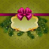 Festive Christmas background with frame. Festive background with frame, Christmas trees for cards, invitations on green background Royalty Free Stock Photo