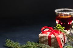 Festive christmas background gift red mulled wine royalty free stock photo