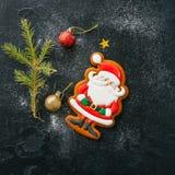 Festive Christmas background. Gingerbread Santa cookie, fir tree Stock Image