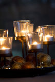 Festive Christmas background with glowing candles Royalty Free Stock Images