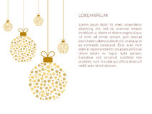 Festive Christmas background with golden balls snowflakes . Banner or poster. Vector in flat style. Stock Photography