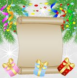 Festive christmas background with green branches and serpentine. Vector  illustration Stock Image