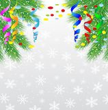 Festive christmas background with green branches and serpentine. Vector  illustration Royalty Free Stock Photo