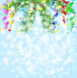 Festive christmas background with green branches and serpentine. Vector illustration Stock Photography