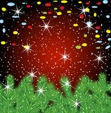 Festive christmas background with green branches. Vector  illustration Royalty Free Stock Image